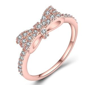 Jewelry - Rose Gold Bow Ring Cubic Zirconia Crystal